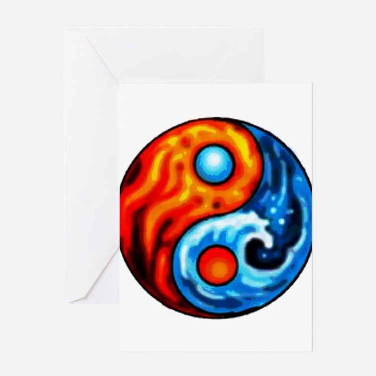 FIRE - WATER YIN - YANG Greeting Cards (Package of