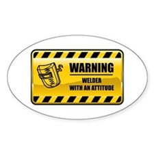 Warning Welder Oval Decal