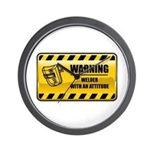 Warning Welder Wall Clock