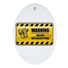 Warning Welder Oval Ornament