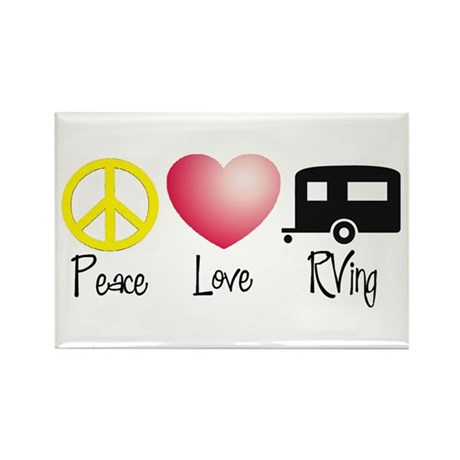 Peace, Love, RVing (travel tr Rectangle Magnet (10