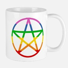 RAINBOW PENTAGRAM 5 POINTED STAR Mugs