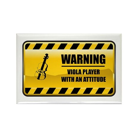 Warning Viola Player Rectangle Magnet (100 pack)