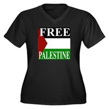 Palestine Women's Plus Size V-Neck Dark T-Shirt