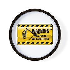 Warning Tuba Player Wall Clock
