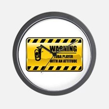 Warning Tuba Player Wall Clock