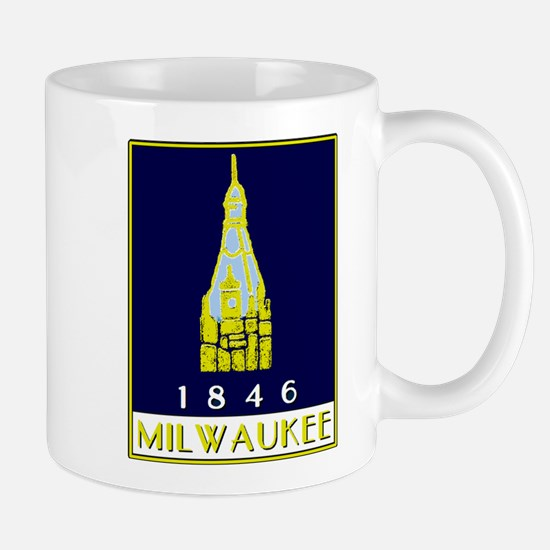 Milwaukee City Hall logo - blue Mugs