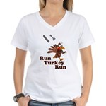 Run Turkey Run Thanksgiving Women's V-Neck T-Shirt
