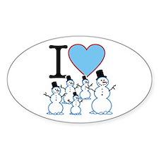 I Love Snowmen Oval Decal