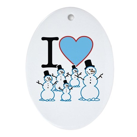 I Love Snowmen Oval Ornament