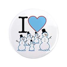 "I Love Snowmen 3.5"" Button"