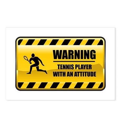 Warning Tennis Player Postcards (Package of 8)