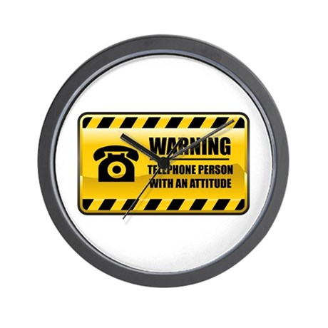 Warning Telephone Person Wall Clock