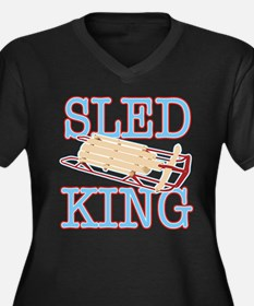 Sled King Women's Plus Size V-Neck Dark T-Shirt