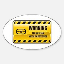Warning Technician Oval Decal