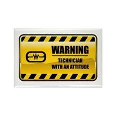 Warning Technician Rectangle Magnet