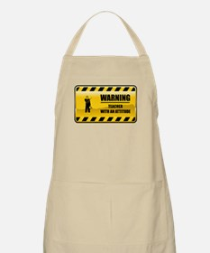 Warning Teacher BBQ Apron