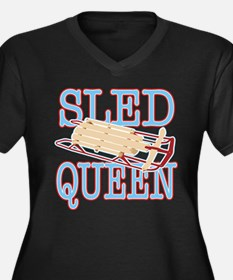 Sled Queen Women's Plus Size V-Neck Dark T-Shirt