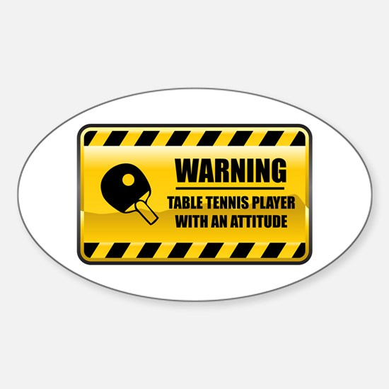 Warning Table Tennis Player Oval Decal