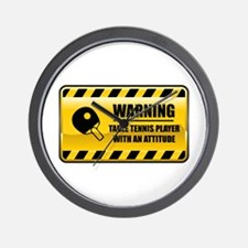 Warning Table Tennis Player Wall Clock