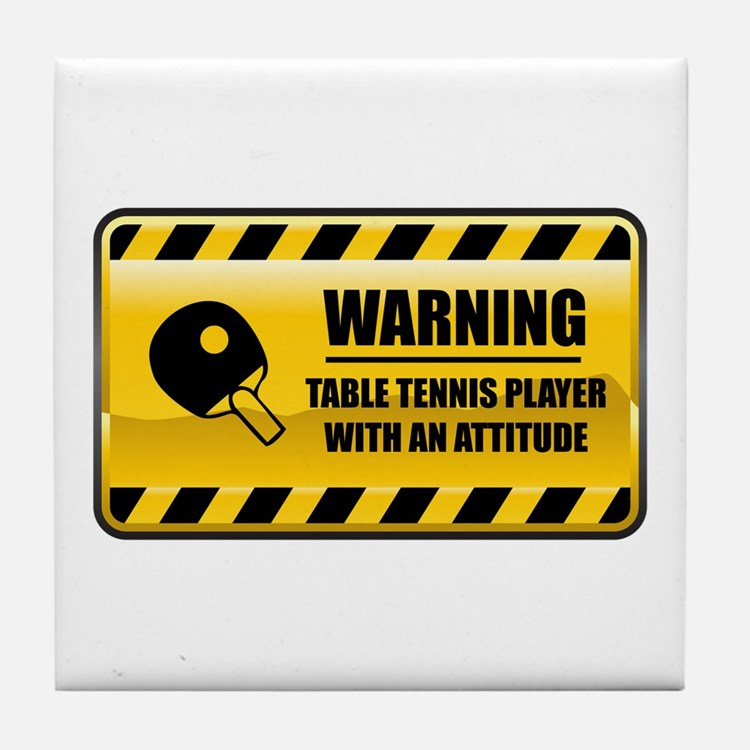 Warning Table Tennis Player Tile Coaster