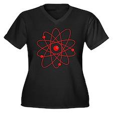 Atoms (red) Women's Plus Size V-Neck Dark T-Shirt