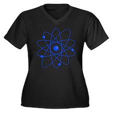 Atoms (blue) Women's Plus Size V-Neck Dark T-Shirt