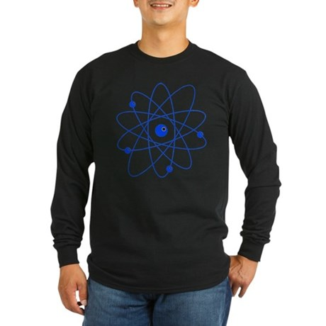 Atoms (blue) Long Sleeve Dark T-Shirt