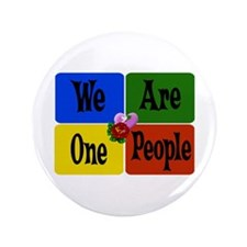 "One World, One People 3.5"" Button"