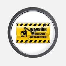 Warning Stenographer Wall Clock