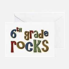 6th Grade Rocks Sixth School Greeting Cards