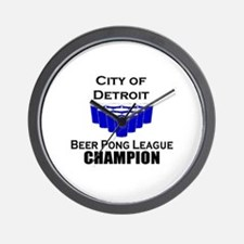 City of Detroit Beer Pong Lea Wall Clock