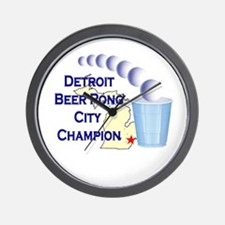Detroit Beer Pong League Cham Wall Clock
