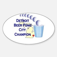 Detroit Beer Pong League Cham Oval Decal