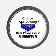 City of Ann Arbor Beer Pong L Wall Clock