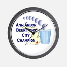 Ann Arbor Beer Pong City Cham Wall Clock