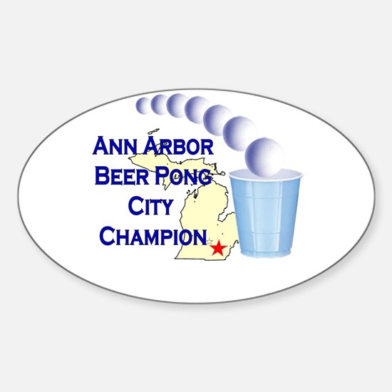 Ann Arbor Beer Pong City Cham Oval Decal