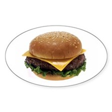 Cheeseburger Love Oval Decal