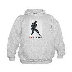 I Love Ninjas Kids Hoodie