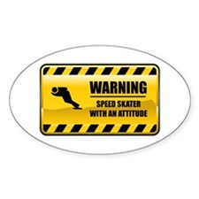 Warning Speed Skater Oval Stickers