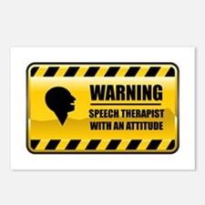 Warning Speech Therapist Postcards (Package of 8)