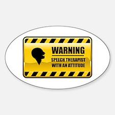 Warning Speech Therapist Oval Decal