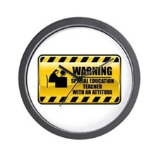 Warning Special Education Teacher Wall Clock