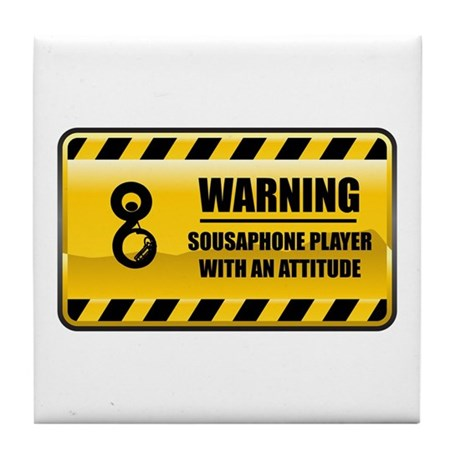 Warning Sousaphone Player Tile Coaster