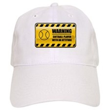 Warning Softball Player Baseball Cap