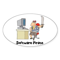 Funny Software Pirate Oval Decal