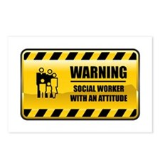 Warning Social Worker Postcards (Package of 8)