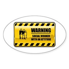 Warning Social Worker Oval Decal