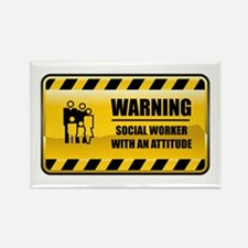 Warning Social Worker Rectangle Magnet
