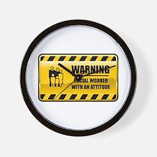 Warning Social Worker Wall Clock